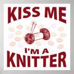 Kiss Me I'm A Knitter Print