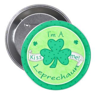 Kiss Me - I'm a Leprechaun Button Badge
