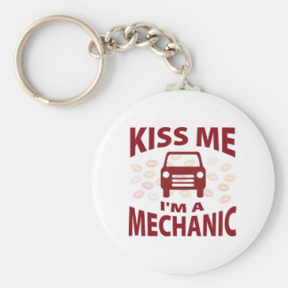 Kiss Me I'm A Mechanic Basic Round Button Keychain