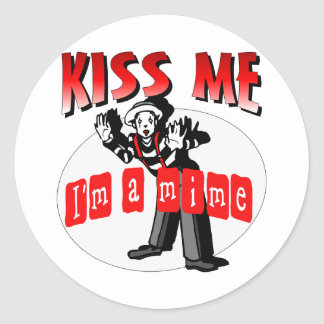 Kiss Me I'm A Mime Classic Round Sticker