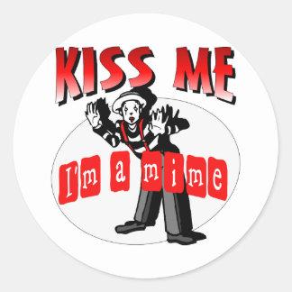Kiss Me I'm A Mime Classic Round Sticker