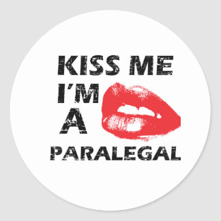Kiss me i'm a paralegal classic round sticker