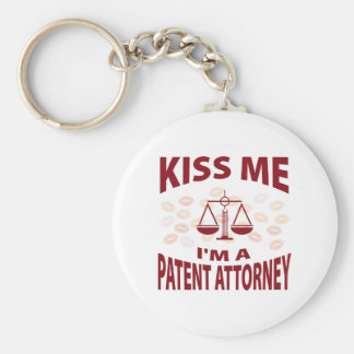 Kiss Me I'm A Patent Attorney Basic Round Button Keychain