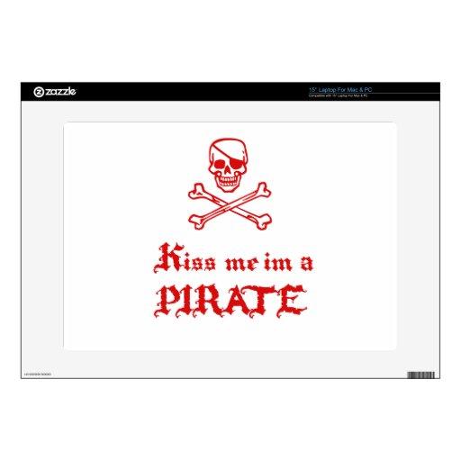 "Kiss Me im a Pirate 15"" Laptop Decal"