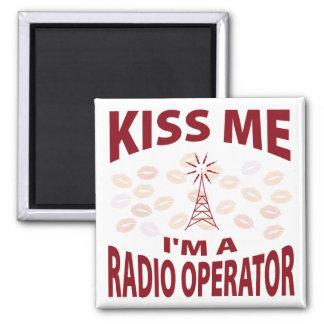 Kiss Me I'm A Radio Operator 2 Inch Square Magnet