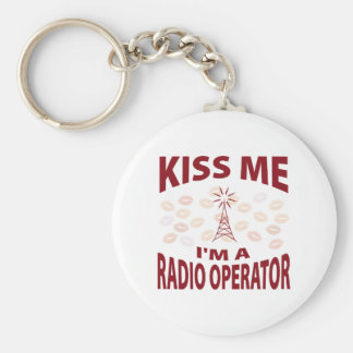 Kiss Me I'm A Radio Operator Basic Round Button Keychain