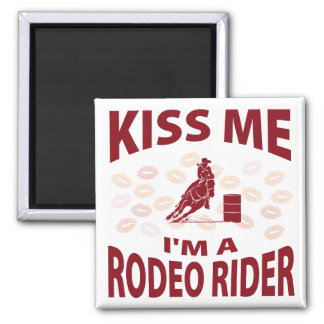 Kiss Me I'm A Rodeo Rider 2 Inch Square Magnet