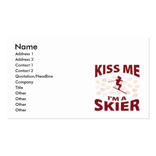 Kiss Me I'm A Skier Double-Sided Standard Business Cards (Pack Of 100)