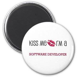 Kiss Me I'm a SOFTWARE DEVELOPER 2 Inch Round Magnet