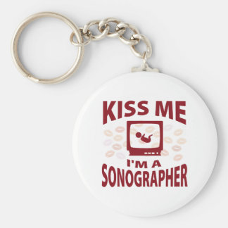 Kiss Me I'm A Sonographer Basic Round Button Keychain