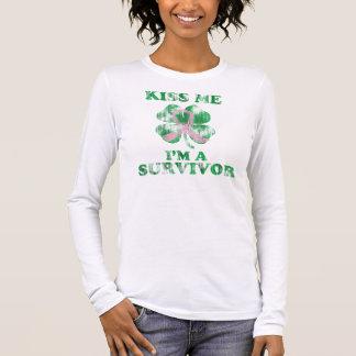 Kiss Me I'm a Survivor Irish Breast Cancer Long Sleeve T-Shirt