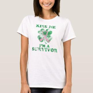 Kiss Me I'm a Survivor Irish Breast Cancer T-Shirt
