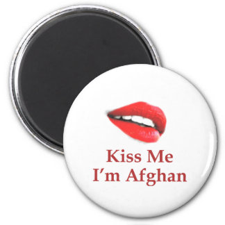 Kiss Me I'm Afghan 2 Inch Round Magnet