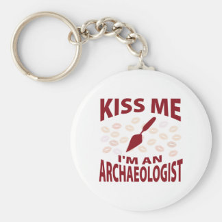 Kiss Me I'm An Archaeologist Basic Round Button Keychain