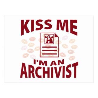Kiss Me I'm An Archivist Postcard