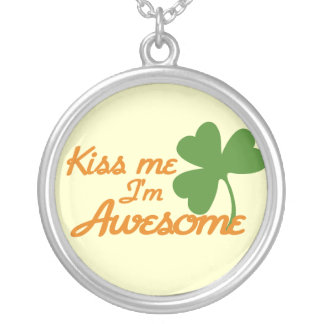 Kiss me I'm awesome Silver Plated Necklace