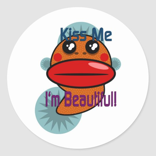 Kiss Me I'm Beautiful Classic Round Sticker
