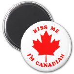 Kiss Me Im Canadian 2 Inch Round Magnet