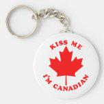 Kiss Me Im Canadian Keychain