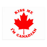 Kiss Me Im Canadian Post Card