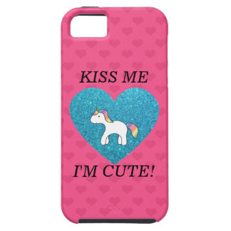 Kiss me I'm cute baby unicorn iPhone 5 Cases