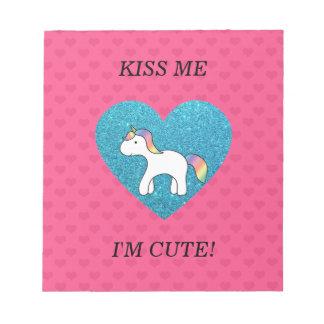 Kiss me I'm cute baby unicorn Memo Pad
