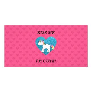 Kiss me I'm cute baby unicorn Photo Card
