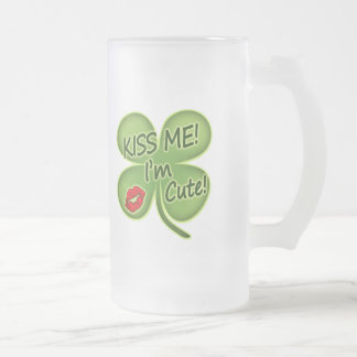 Kiss Me I'm Cute Frosted Glass Beer Mug