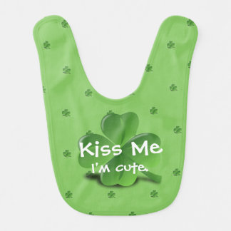 """Kiss Me I'm Cute"" St. Patrick's Day Clover Baby Bib"