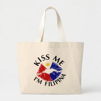 Kiss Me I'm Filipina Canvas Bags