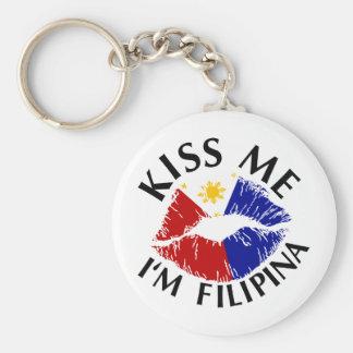 Kiss Me I'm Filipina Basic Round Button Keychain