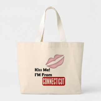 Kiss Me, I'M From Connecticut Large Tote Bag