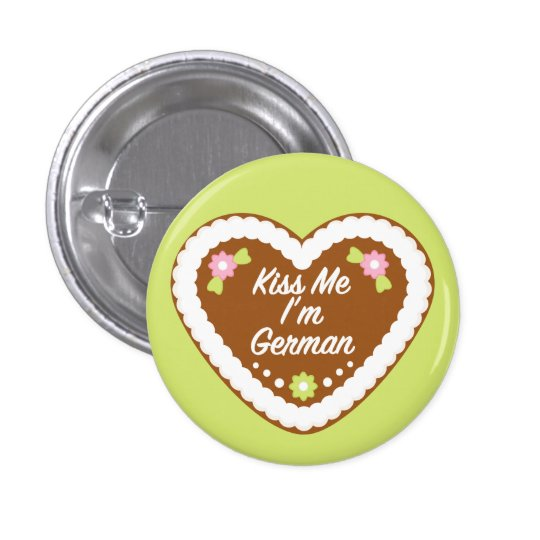 Kiss Me I'm German Gingerbread Heart Button