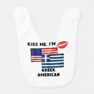 Kiss Me I'm Greek American Bib