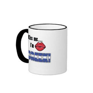 Kiss Me I'm Greek Ringer Coffee Mug