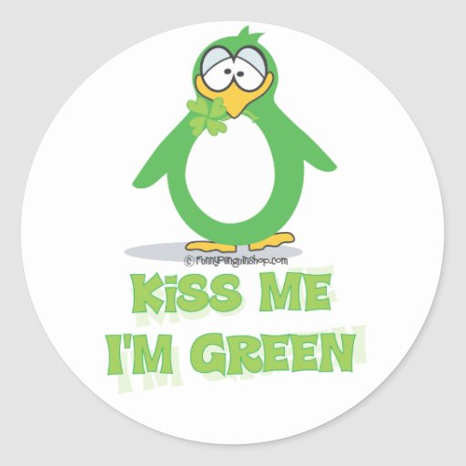 Kiss Me I'm Green Classic Round Sticker