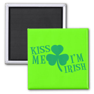 KISS me I'm Irish 2 Inch Square Magnet