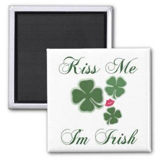 Kiss Me Im Irish 2 Inch Square Magnet