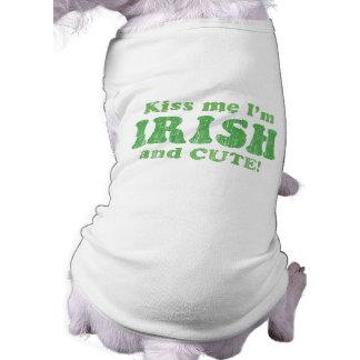 Kiss Me I'm Irish and Cute! Dog T-shirt