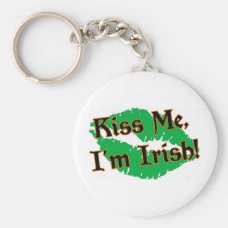 Kiss Me I'm Irish Basic Round Button Keychain