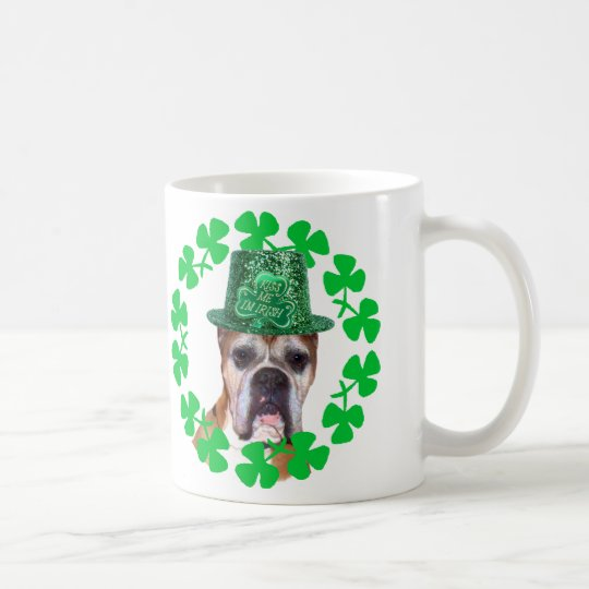 Kiss me I'm Irish Boxer Dog mug