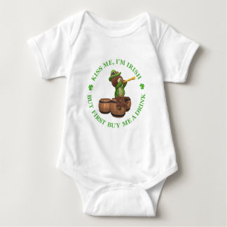 Kiss me, I'm Irish - But First Buy Me A Drink Baby Bodysuit