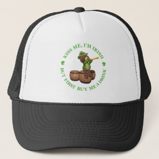 Kiss me, I'm Irish - But First Buy Me A Drink Trucker Hat