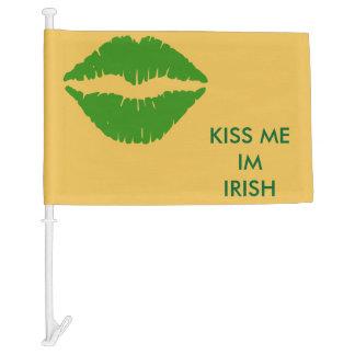 Kiss Me Im Irish Car Flag