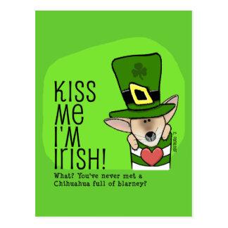 Kiss Me I'm Irish, Chihuahua Postcard