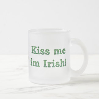 Kiss me im Irish Collection Frosted Glass Coffee Mug