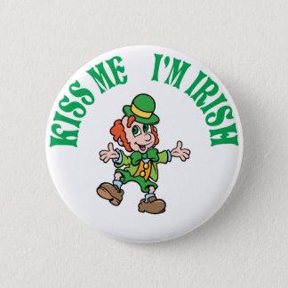 Kiss Me I'm Irish Dancing Leprechaun Button