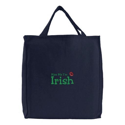 Kiss Me I'm Irish Embroidered Go Green Bag