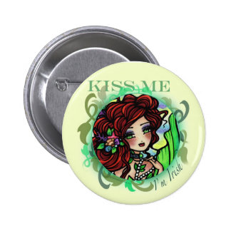 """KISS ME I'm Irish"" Fantasy Mermaid Fairy Art Button"