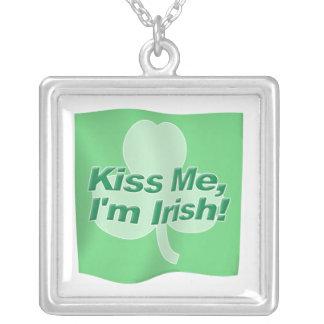 Kiss Me Im Irish Flag Square Pendant Necklace